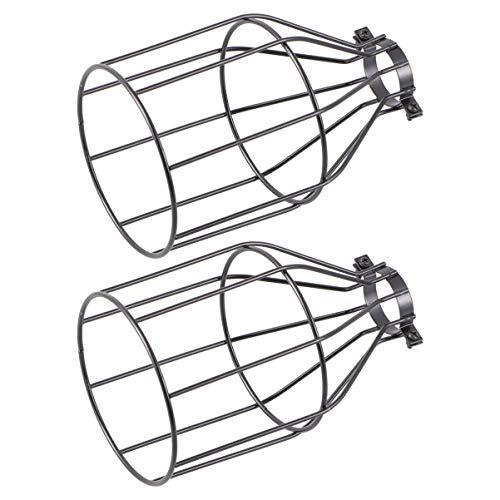 FRCOLOR 2 Piezas Lámpara Colgante Jaula Iluminación Metal Vintage Lámpara Sombra Cubierta para Ventilador de Techo Colgante Cadena Luz Industrial Accesorio de Alambre Pantalla