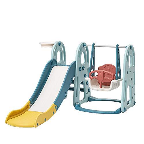 HAPPYMATY Spielplatz Kinder Rutsche mit Schaukel 3 in 1 Spielturm Kletterturm Indoor Aktivitätszentrum für Kinder inkl. Basketballkorb
