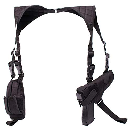 POYOLEE Shoulder Holster for Pistols, Adjustable Vertical Gun Holster with Double Magazine Pouch, Universal Concealed Carry Holster Fits Compact to Large Handguns