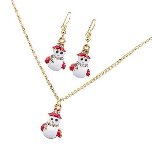 Harilla Conjunto De Joyas Esmalte Cuelga Pendientes Collar Navidad Chicas Linda Navidad Temática - Muñeco de Nieve 1