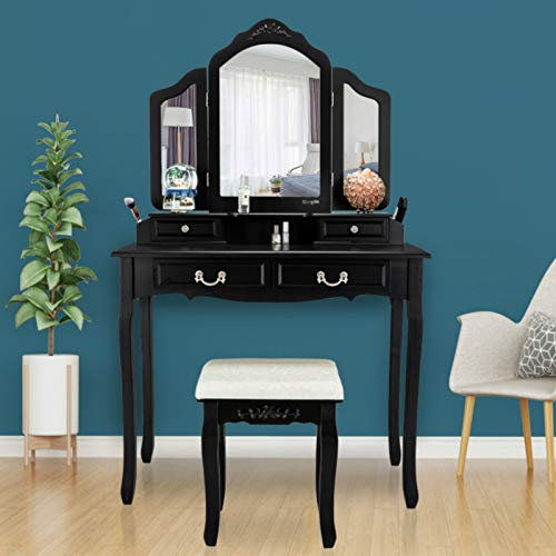 VINGLI Vanity Set Black Makeup Vanity Table Set with Tri-Folding Mirror and 8 Necklace Hooks Dressing Table with Drawers & Cushioned Stool for Bedroom