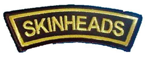 Skinhead Arm Embroidered Patch (Black/Gold)