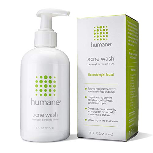 Humane Maximum-Strength Acne Wash - 10% Benzoyl Peroxide Acne Treatment for Face, Skin, Butt, Back and Body - 8 Fl Oz - Dermatologist-Tested Non-Foaming Cleanser - Vegan, Cruelty-Free