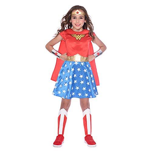 amscan 9906082EU Disfraz de superhéroe de mujer maravilla para niños, edad 4-6-1 pieza