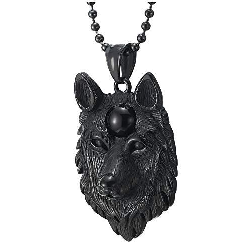 COOLSTEELANDBEYOND Hombre Muchachos Niños Acero Negro Cabeza de Lobo Collar con Colgante con Negro...