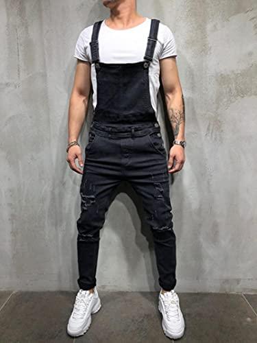 WoJogom Fashionable Men Torn Jeans Jumpsuit Street Distressed Denim Bib Overalls for Men Streetwear Black