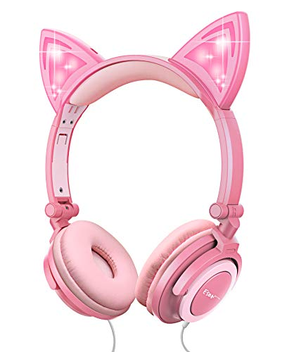 Esonstyle Kids Headphones Over Ear with LED Glowing Cat Ears,Safe Wired Kids Headsets 85dB Volume Limited, Food Grade Silicone, 3.5mm Aux Jack, Cat-Inspired Pink Headphones for Girls (led-Pink)