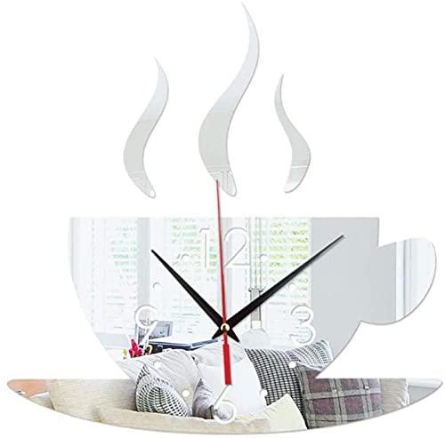 DFGBXCAW Reloj de Pared Etiqueta Moderna Etiqueta de Pared 3D Reloj de Pared Decoración de Oficina, Taza de café Creativa Reloj de Pared Digital Sala de Estar en casa Reloj de Pared DIY fo