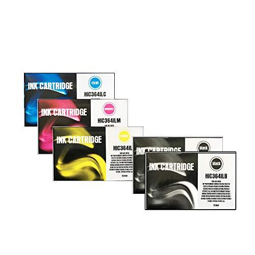 Cartuchos de tinta compatibles HP 364 Color + Negro para HP Photosmart C6380, D5460, B8553, B8550, C309a, C5390, C5383, D7560, C5380, C6300, C5300 Series Pack + 1 Noir
