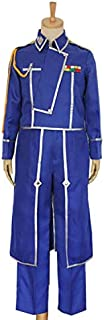 Anime Fullmetal Alchemist Cosplay Roy Mustang Costumes Military Uniform Suit Coat + Pants + Apron.