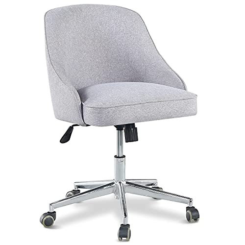 Home Office Chairs, Nopurs Gray Fabric Chair, Ergonomic Rebound Sponge, Adjustable Swivel Slide Chairs, Suitable for Work, Vanity, Reading