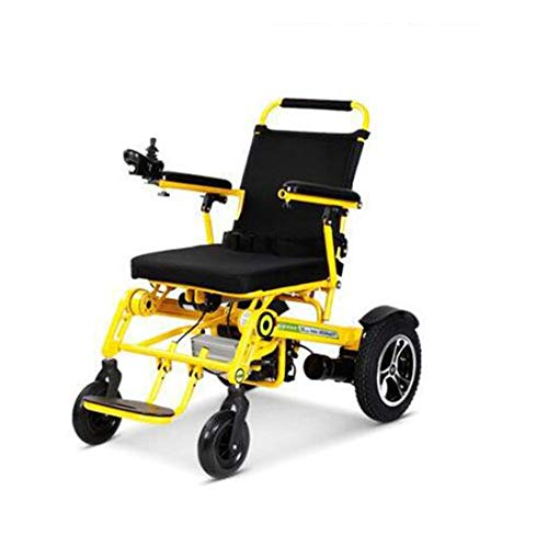 MMRLY Foldalite Rollstuhl, Elektrorollstuhl, 22Ah / 25km, GPS-Positionierung, 1-Taste Faltung, für ältere Behinderte Offroad Rollstuhl,Gelb