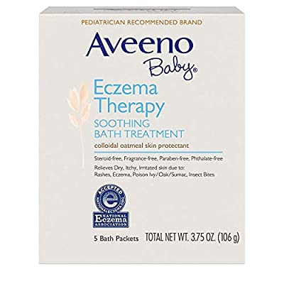 Aveeno Baby Eczema Therapy Soothing Bath Treatment for Relief of Dry, Itchy and Irritated Skin, Made with Soothing Natural Colloidal Oatmeal, 5 ct. ( Pack of 6)
