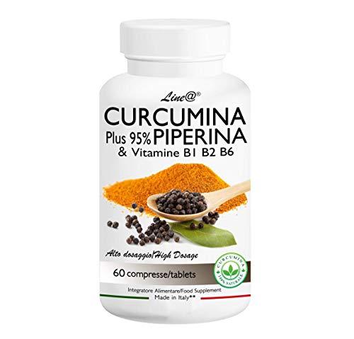 CURCUMINA Plus 95%   CURCUMINOIDI 950 MG   100% NATURALE Curcuma e Piperina - potenziata con PIPERINA 1000 mg Alto Dosaggio (60 CPR) 20 VOLTE PIU' EFFICACE! Prodotto ITALIANO