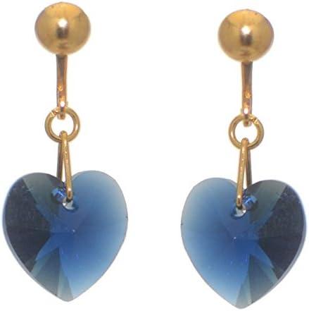 VALENTINE gold plated dark indigo crystal heart clip on earrings