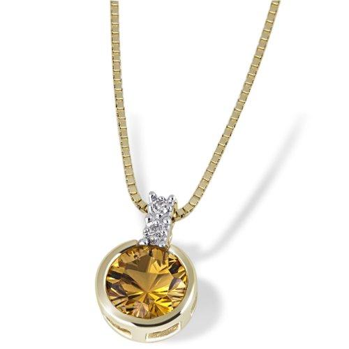 Goldmaid Damen-Halskette 585 Gelbgold 1 Citrin gelb 2 Diamanten Kettenanhänger Schmuck Diamantkette