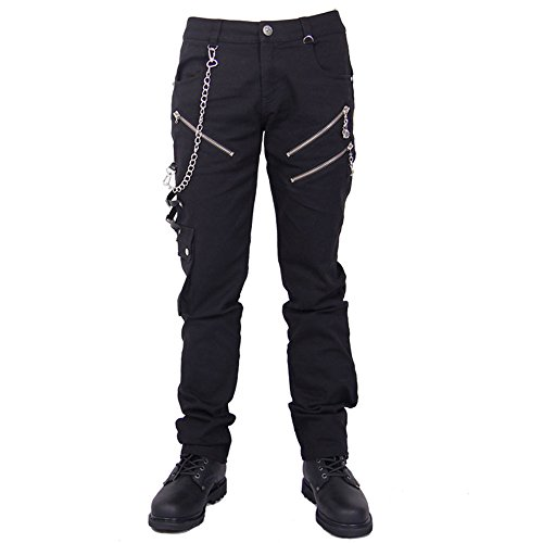 Devil Fashion Punk Pantalones Vaqueros Hombre Negro, Steampunk Gotico Hombre Largo Jeans Skinny (M)