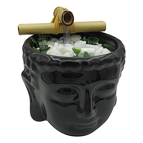 Fonte de Água em Cerâmica Cabeça de Buda (12cm) (Preta)