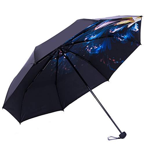 GFYS1201 Zakparasol, zonnescherm met dubbele gebruiksdoel, UV-bestendig, kleine, ultralichte paraplu van zwart kunststof