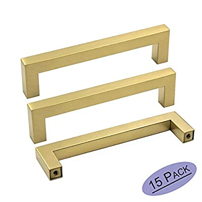goldenwarm Gold Cabinet Pulls Square Kitchen Hardware Handles - LSJ12GD160 Brushed Brass Pulls for Cabinets Closet Square Cupboard Bathroom Desk Door Knobs 6-1/4in(160mm) Hole Centers 15Pack