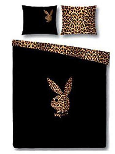 Playboy - Juego de cama (satén, 155 x 220 cm), diseño de conejo
