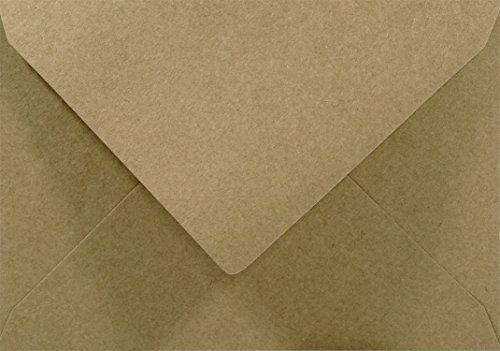 Netuno 25 Sand-Braun DIN C5 Kraftpapier-Umschläge, 162x229mm, Spitzklappe, ohne Fenster, ÖKO ECO Vintage Natur-braune recycelte Briefumschläge ideal für Hochzeit, Weihnachten, Geburtstag, Einladungen