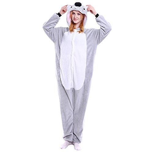 LSERVER Erwachsenen Tier Pyjama Jumpsuit Cosplay Unisex Pyjamas Outfit Onesie Nacht Kostüm, Koala, S (empfohlene Höhe 145-155 cm)