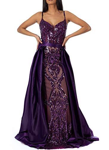 Mel's Line Abendkleider mit Pailletten und abnehmbare Schleppe (violett, 40)