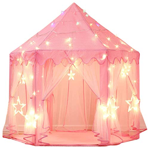 sumbababy-princess-castle-tent-for-girls-fairy-play-tents-for-kids-hexagon-playhouse-with-large-star-lights-toys-for-children-or-toddlers-indoor-or-outdoor-games-pink