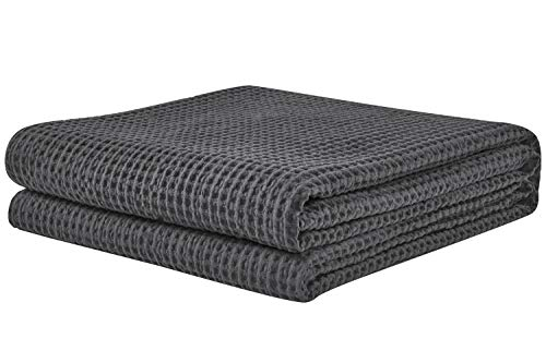 PHF Cotton Waffle Weave Blankets King Size Soft Cozy Textured Lightweight for Bed Couch Sofa Home...