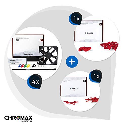Chromax Bundle Rosso: 4x Noctua NF- NF-S12A PWM chromax.black.swap, Ventola 4-Pin (120mm) + NA-SAVP1 / NA-SAV2 chromax.red