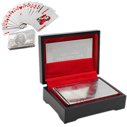 Silver Plated Playing Cards | Poker Playing Cards | Silver Plated Playing Card Waterproof Silver Plated Poker Game