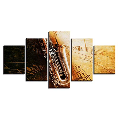 RKSZD 5 Canvas foto's canvas schilderij woonkamer muurkunst 5 stuks saxofoon muziek notes wooncultuur modulaire Hd prints retro poster