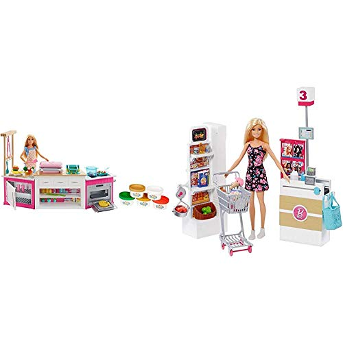 Barbie FRH73 CAREERS Ultimate Kitchen with Doll Playdough, Cooking, Baking Toy for 4 to 9 Years Children Playset, Multi-Colour & Grocery Store Playset