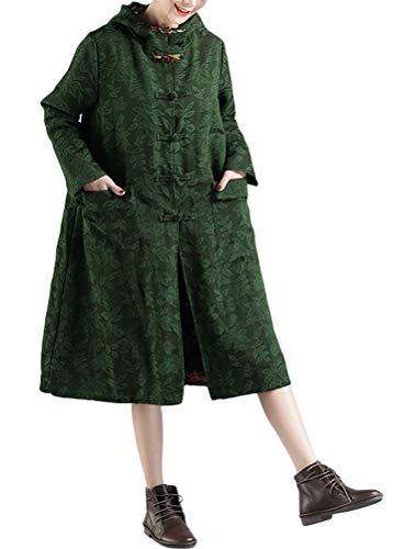Minibee Women's Hooded Jacket Retro Chinese Frog Button Trench Coats Ethnic Jacquard Long Overcoat Dark Green 2XL