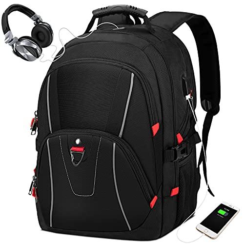 NEWHEY Zaino Uomo Zaino Porta PC 17 Pollici Zaino PC Portatile con Porta USB Impermeabile 17.3 Pollici Notebook Zaini per Laptop per Lavoro Viaggio Scuola Bussiness Nero