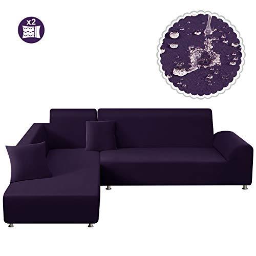 TAOCOCO Sofa Überwürfe Sofabezug Elastische Stretch Wasserdicht Sofa Abdeckung für L-Form 2er Set mit 2 Stücke Kissenbezug (3 Sitzer+3 Sitzer, Lila)