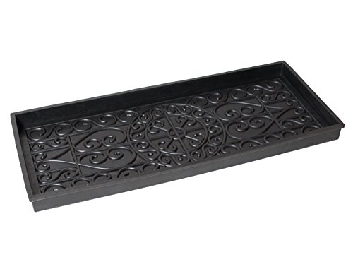 BirdRock Home Rubber Boot Tray - 34 inch Decorative Boot Tray for Entryway – Shoe Mat – Waterproof - All Weather Indoor or Outdoor Use – Dog Water Food Bowl Wide Trays – Under Sink Drip Utility Tray
