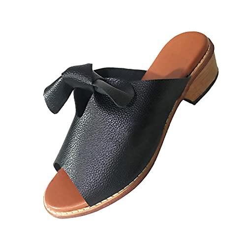 Femmes Mules Chaussures Femmes Mode Block Chaussures D'Été Femmes Chaussures À Bout Ouvert Compensées Semelle Épaisse Sandales Bouche De Poisson Femme en Cuir Chaussures Hôpital Mules Orthopédiques
