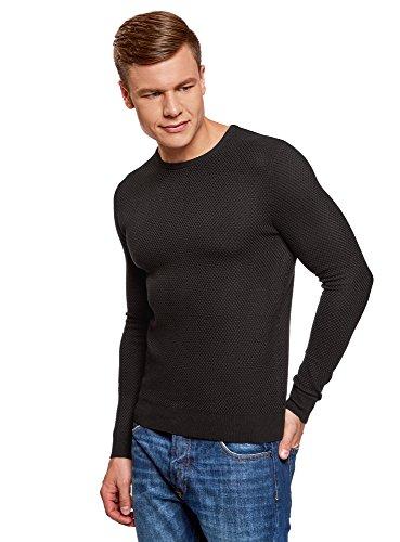 oodji Ultra Hombre Jersey Básico de Punto Texturizado, Negro, ES 46-48 / S