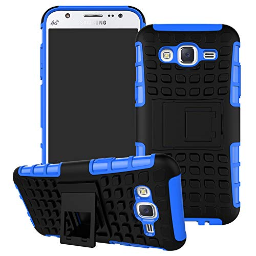 MAMA MOUTH Samsung Galaxy J5 2015 Funda, Heavy Duty Silicona híbrida con Soporte Cáscara de Cubierta Protectora de Doble Capa Funda Caso para Samsung Galaxy J5 J500 2015,Azul