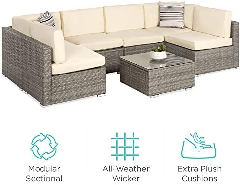 Best Best Choice Products 7-Piece Modular Outdoor Conversational Furniture Set, Wicker Sectional Sofas w/