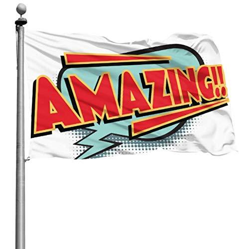 Mesllings - Banderas de decoración para exteriores (120 x 180 cm), diseño retro con texto en inglés 'Palabra de cómic' (120 x 180 cm), poliéster con ojales para decoración interior/exterior