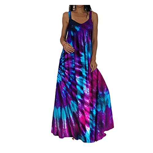 Plus Size Maxi Boho Dress for Women Casual Summer V-Neck Long Spaghetti Strap Beach Magic Flame Print Dress