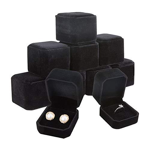 BENECREAT 10 Pack Caja de Anillo Negra Caja de Regalo de Terciopelo Envase Superior de Joyería para Muestra, Compromiso, Boda 54.5x49.5x41.5mm