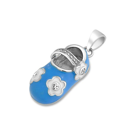 Bling Jewelry Personalized Baby Shoe Charm Pendant Necklace for New Mother Blue White Enamel Flower Sterling Silver Custom Engraved