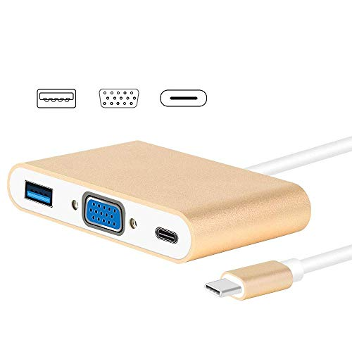 YGB USB-Hub, USB-C-Hub, USB-C / Typ-C HUB Konverter, USB Typ C zu VGA, 3-in-1 Hub Adapter, unterstützt USB Typ C Tablets und Laptops (Farbe: Gold), gold