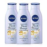 NIVEA Aceite en Loción Flor de Naranjo y Aceite de Aguacate en pack de 3 (3 x 400 ml), loción corporal de rápida absorción y fragancia afrutada, para piel seca y normal