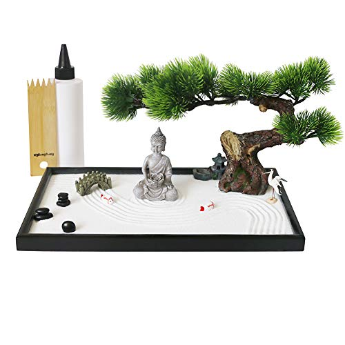 Japanese Tabletop Meditation Zen Garden Gift - Tabletop Rock Sand Meditating Garden Bridge Bamboo Rakes Bonsai Tree Plant Pagoda Accessories Tools Kits Office Home Desktop Relaxation Sandbox Decor