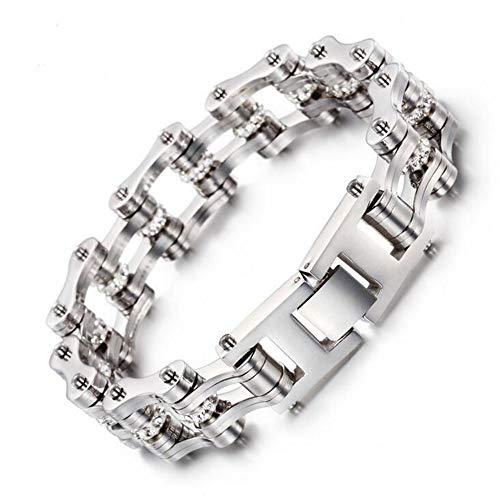 Qiaonitu 16mm Heavy Stainless Steel Motorcycle Bike Biker Link Chain Crystal Rhinestones Bracelets for Women Men 7-8.7inch (Silver, 7)
